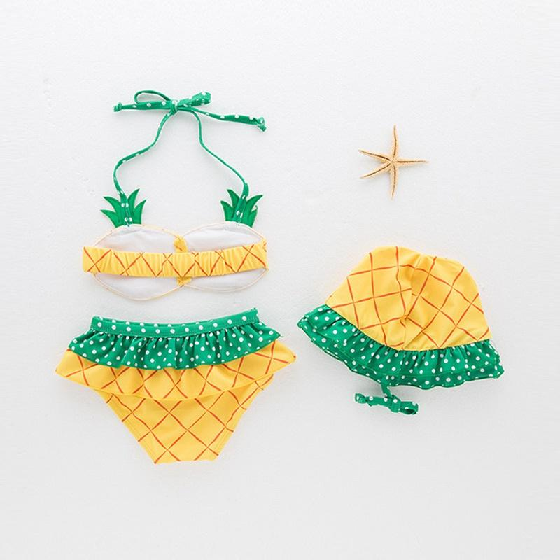 3-piece Lovely Pineapple Design Bikini and Hat Set in Yellow for Baby and Toddler Girl-Bathing Suit