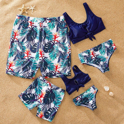 I Love Mama™  Fire Leaf Print Matching Swimsuits-Bathing Suit