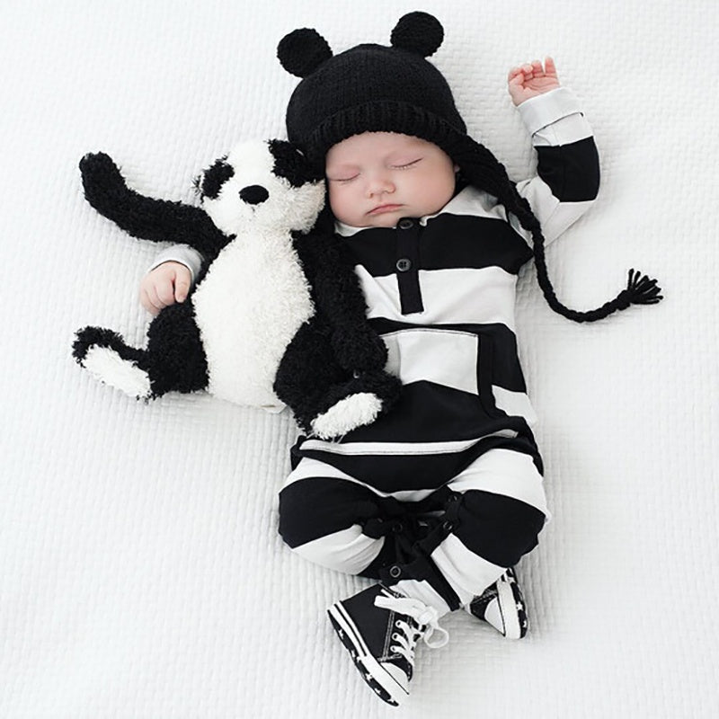 Baby Stripe Style Pocket Design Long-sleeve Jumpsuit