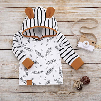 Baby 3D Ear Decor Leaf Print Hoodies and Striped Pants Set