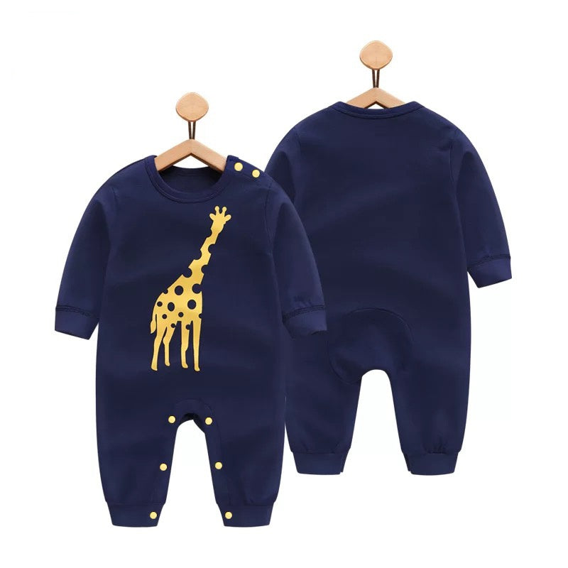 Baby Giraffe Print Long-sleeve Jumpsuit