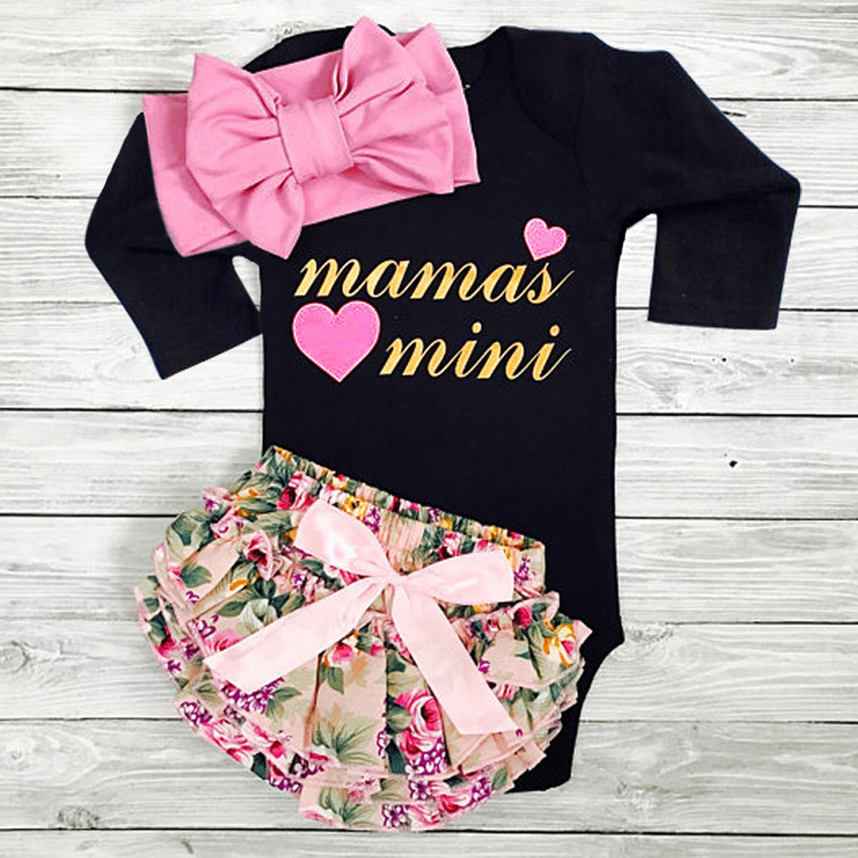 Baby Girl's Letter Print Bodysuit, Floral Allover Skirt and Bow Headband