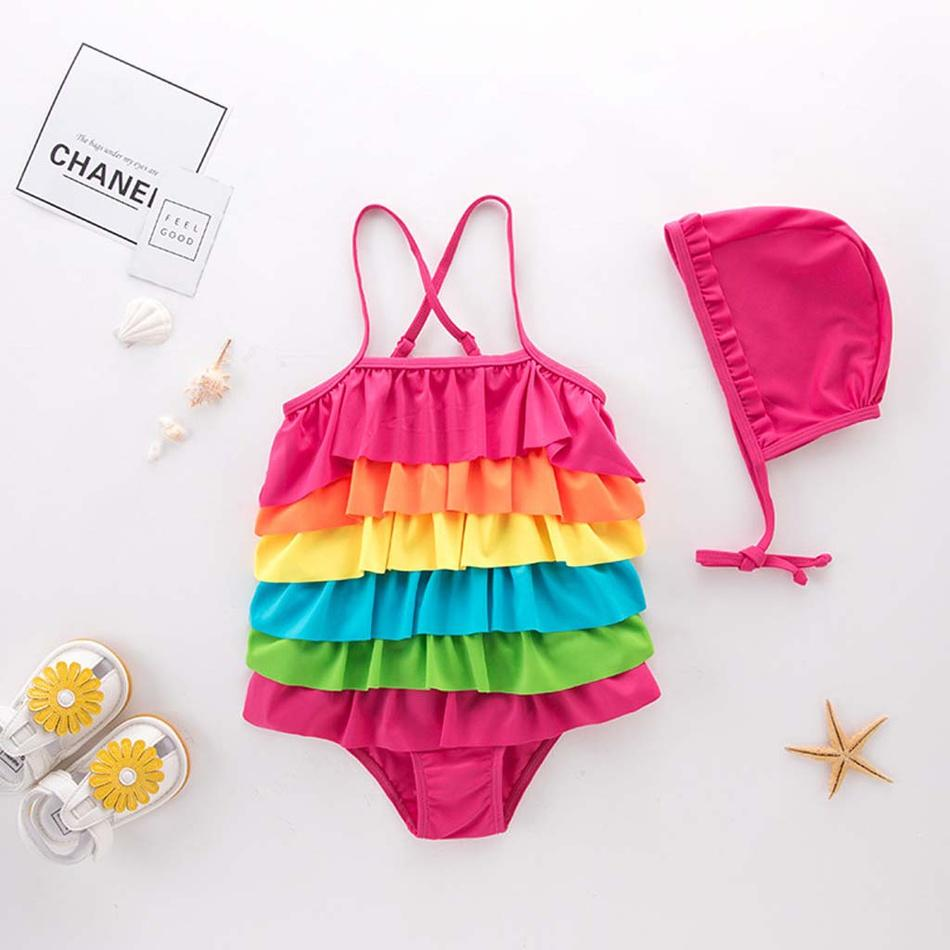 2-piece Baby / Toddler Rainbow Ruffled Halter Swimwear and Hat Set-Bathing Suit