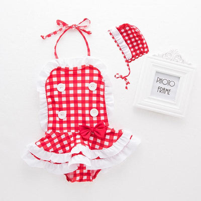 2-piece Baby / Toddler Halter Ruffled Plaid Swimwear and Hat Set-Bathing Suit