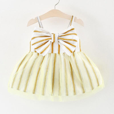 I Love Mama™ Baby/ Toddler Girl's Striped Bow Decor Tulle Strap Dress