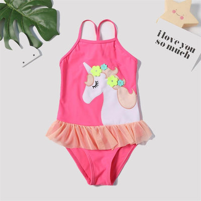 Bathing Suit - Cute Unicorn Appliqued Swimsuit in Hot Pink