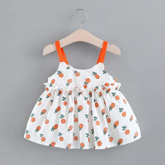 I Love Mama™ Summer Ruffle Strap Pineapple Dress