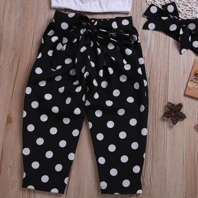 3-piece Fashionable Off Shoulder Pompon Flounced Top and Polka Dots Pants Set
