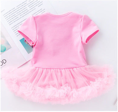 3-piece First Birthday Romper Tutu Skirt and Solid Headband for Baby Girl