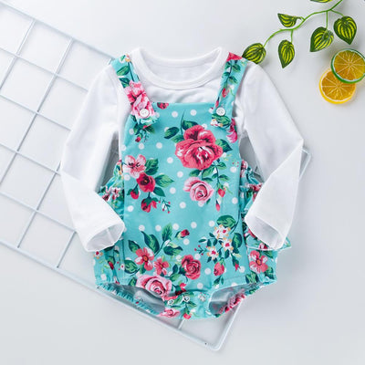 Baby Girl Floral T-SHIRT & OVERALL