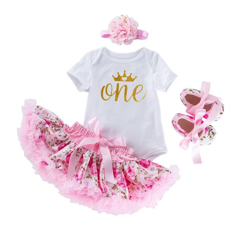 "My First Birthday Bella's Design (Gold ""One"" with large crown)_Romper & Tutu Suit"