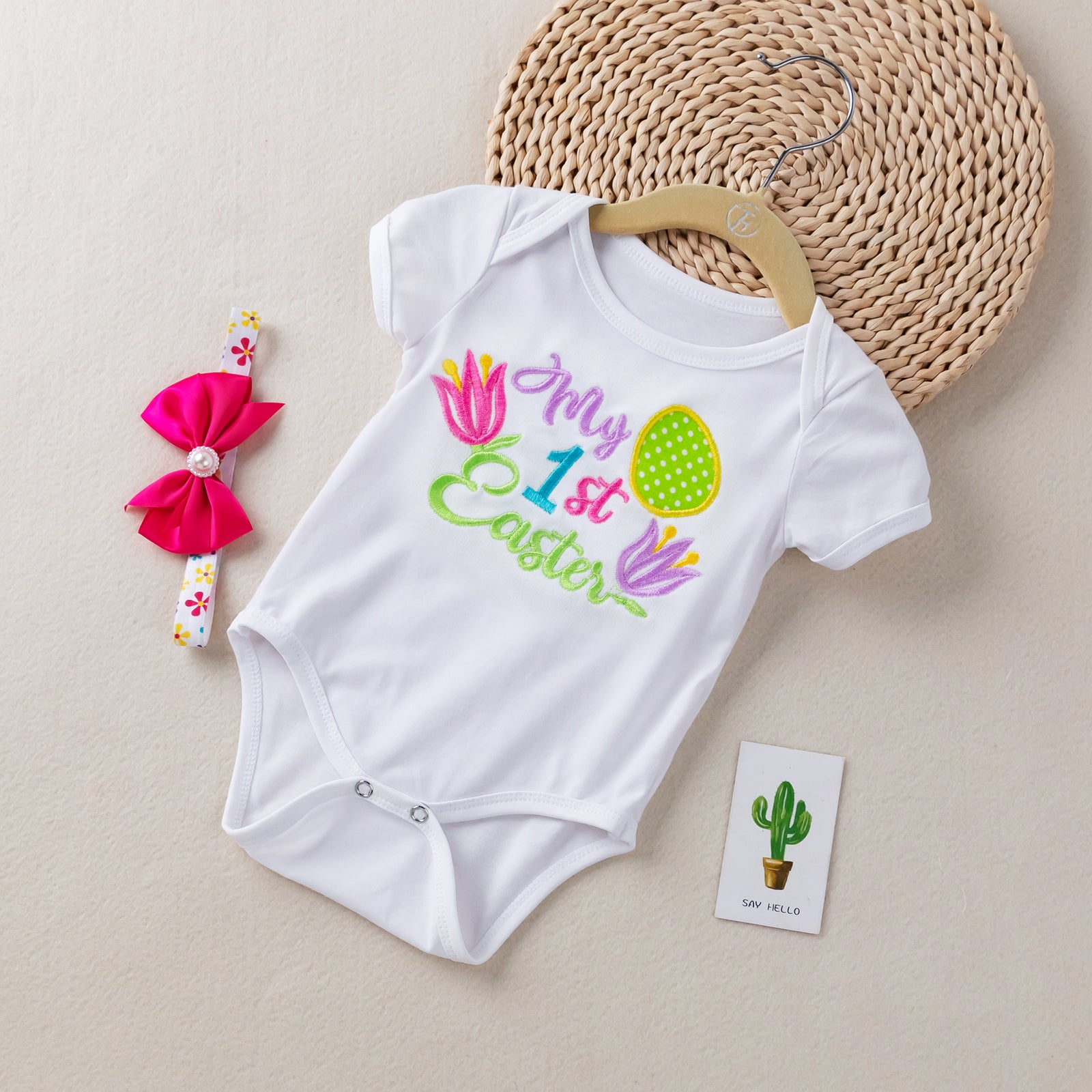 2-piece Embroidered Design 'My 1st Easter'