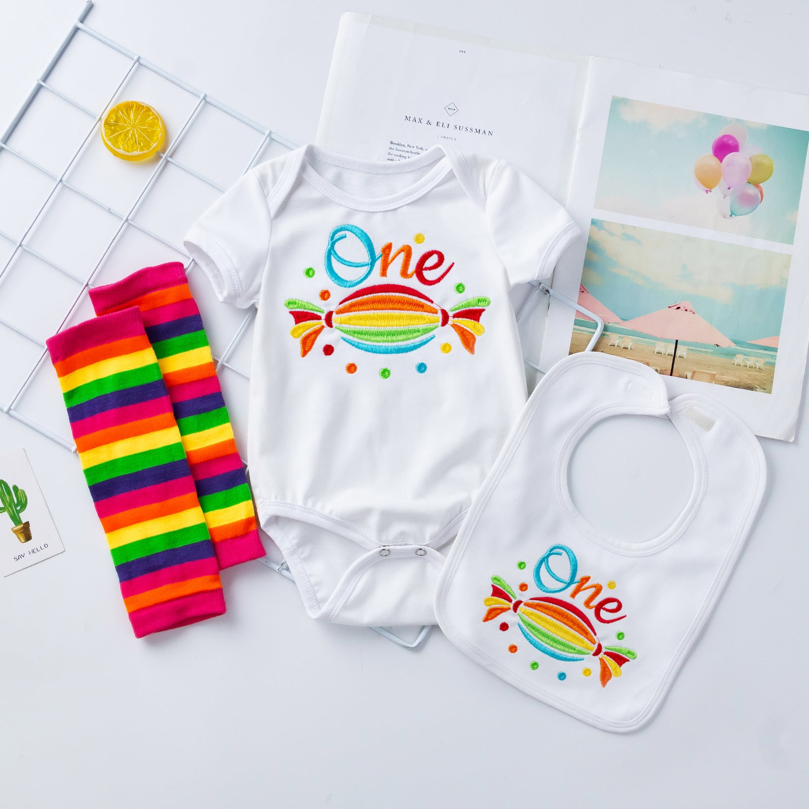 Embroidery Rainbow Candy 1st Birthday 3-piece baby boy