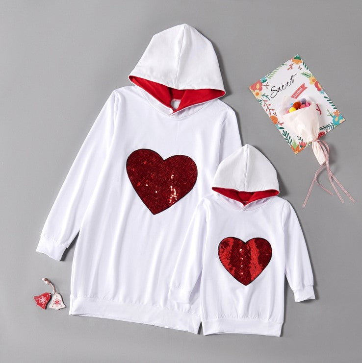 Mom and Me Sequined Heart Hoodies