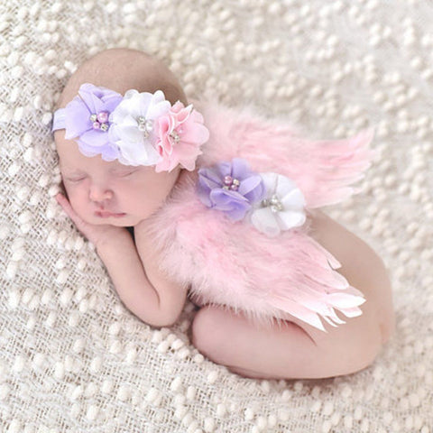 Baby Angel Lace Headband Set