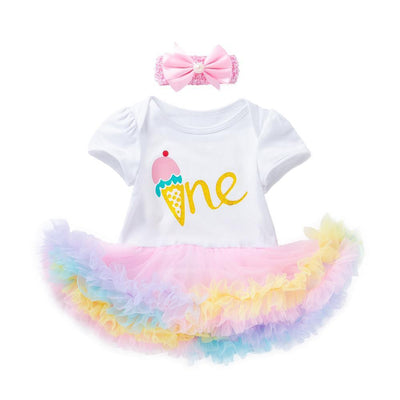 "Birthday Arlene's Design (Solid Icecream ""One"")_Romper Dress Suit"