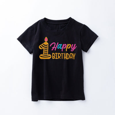 My 1st Birthday Family Matching T-shirts with Embroidery Black