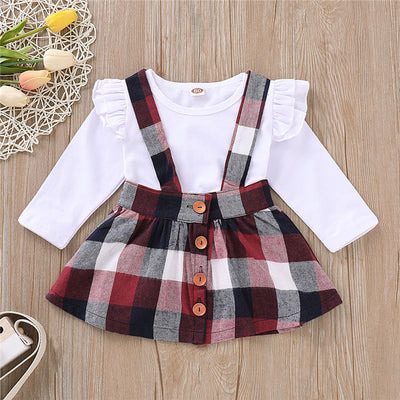 2-piece Baby/Toddler Girl's Plaid Splice Dress and TOP set