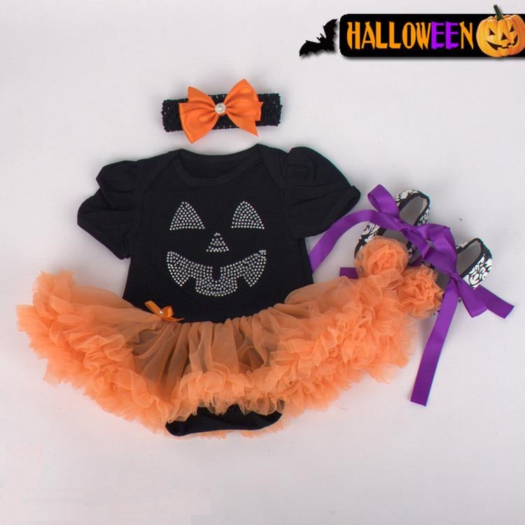 Halloween baby Jersey dress Shoes Headband Three sets