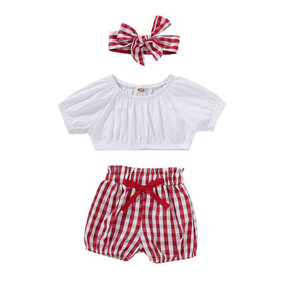 3-piece Baby Striped Bodysuit and Shorts with Headband Set