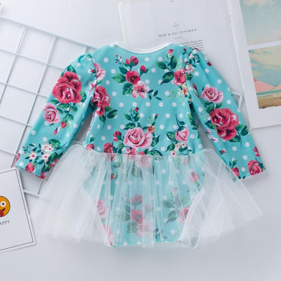 Baby Girl Floral Allover Long-sleeve Dress Romper and Headband