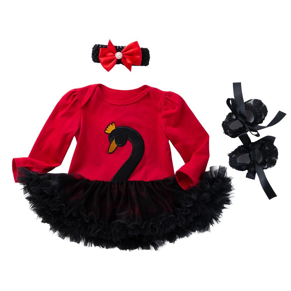 3-piece Amanda's Design (Red &Black Swan)_Romper & dress Suit