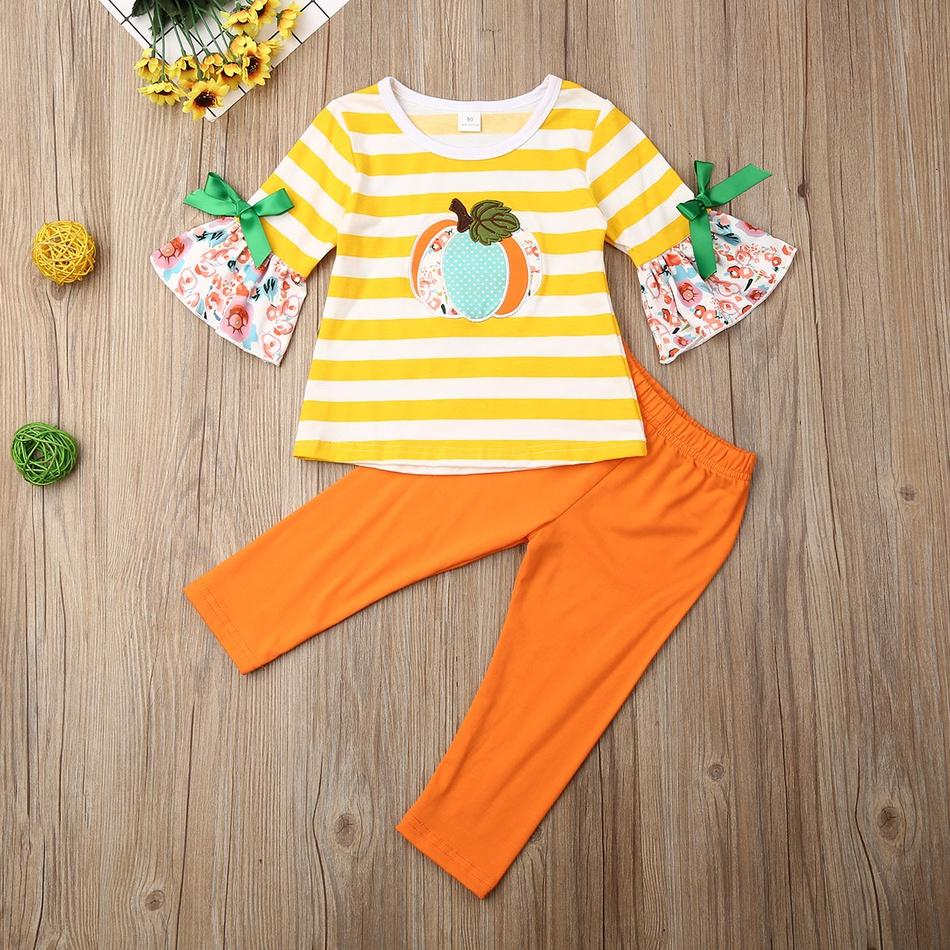 Baby Halloween Pumpkin Applique Striped Top and Pants Set