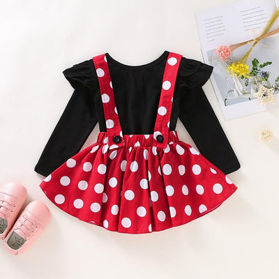 Baby Girl Solid Top and Polka Dots Strappy Skirt Set