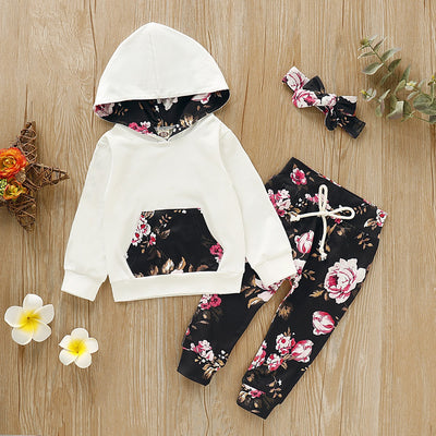 3-piece Baby / Toddler Flower Print Hooded Top and Pants with Headband Set