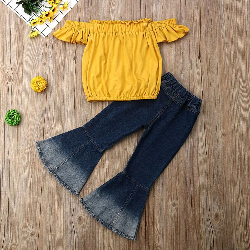 Baby / Toddler Summer Solid Flounced Collar Top and Denim Bellbottom Pants Set