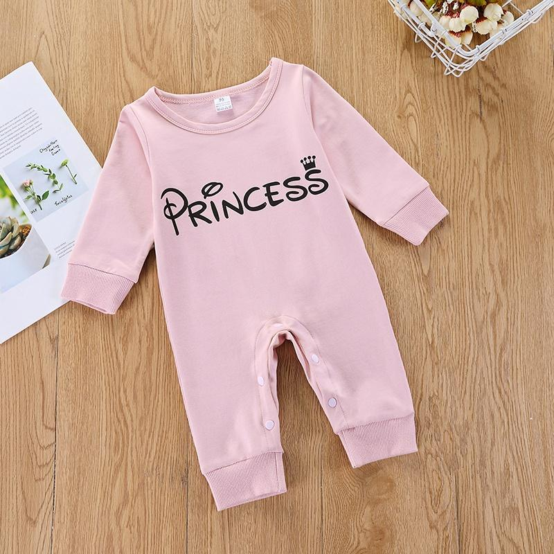 Baby Girl Letter Print Solid Jumpsuit