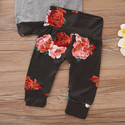 3-piece Baby / Toddler Pretty Floral Longsleeves Splice Top and Pants with Headband Set