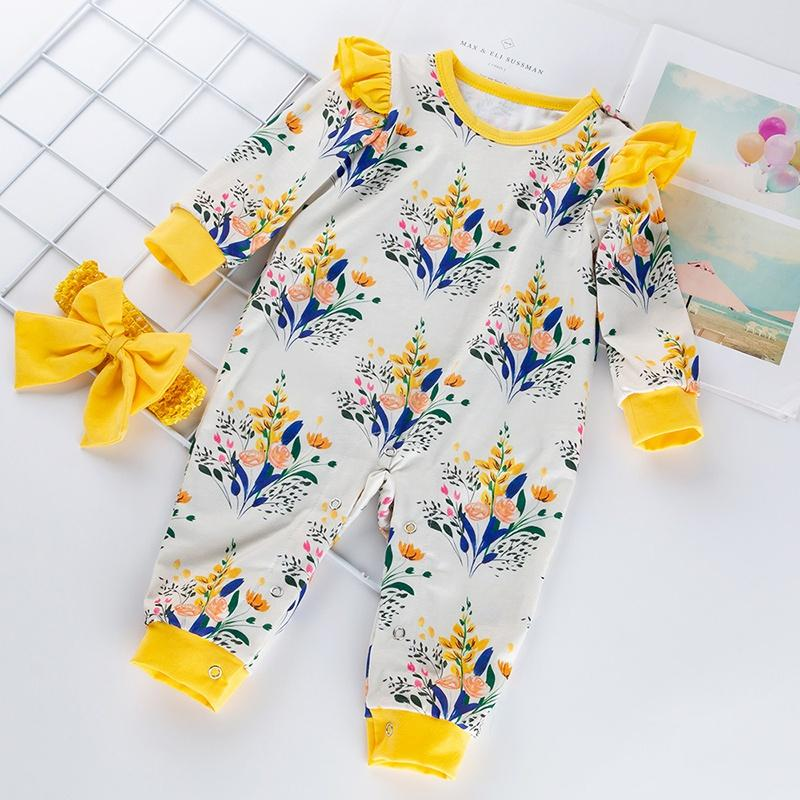 Baby Girl Floral Allover Long-sleeve Jumpsuit and Bowknot Decor