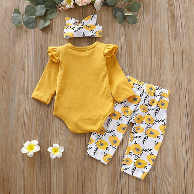 3-piece Baby Girl LITTLE MISS SASSY PANTS Print Bodysuit and Floral Belted Pants with Headband Set
