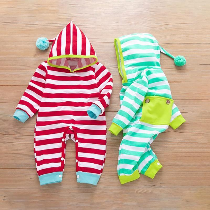Baby 3D Ears Fashionable Striped Print Hooded Long-sleeve Jumpsuit