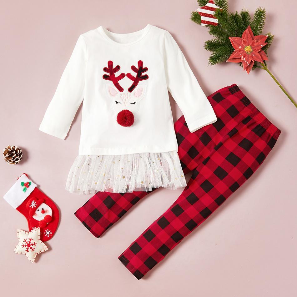 Baby / Toddler Elk Applique Tulle Splice Top and Plaid Pants Set