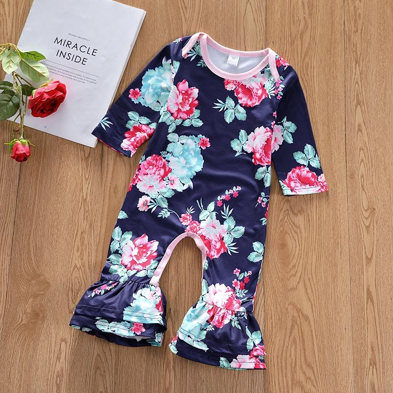 Baby Girl Floral Pattern Bell Bottom Long-sleeve Jumpsuit