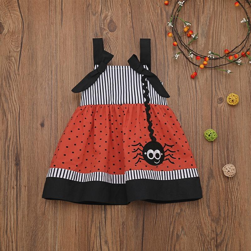 Baby / Toddler Girl Halloween Striped Polka Dots Spider Suspender Dress