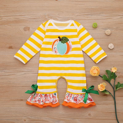 Baby Girl Halloween Trick Pumpkin Embroidery Stripe Long-sleeve Jumpsuit