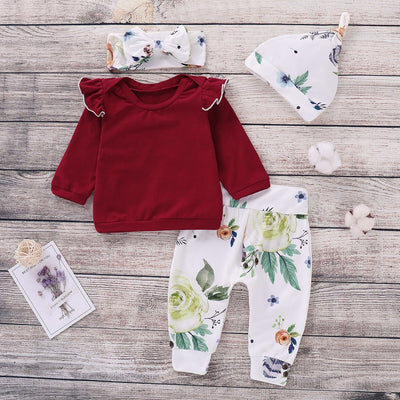 4-piece Baby Solid Flutter-sleeve Decor Top and Floral Pants with Hat and Headband Set