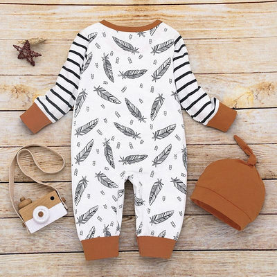 Baby Beautiful Leaf Allover Pocket Design Long-sleeve Jumpsuit and a Hat