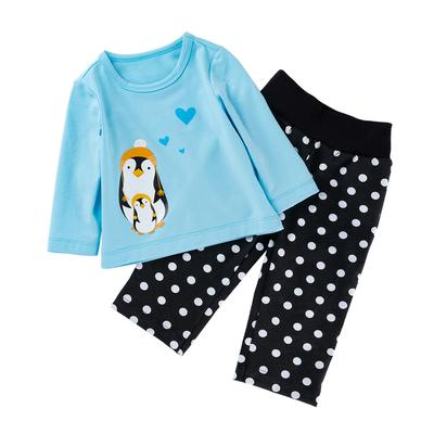2-piece Baby Stylish Pengguin Applique Top and polk dot Pant Set