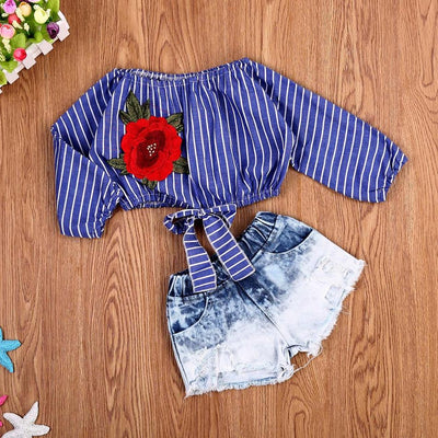 Baby / Toddler Girl Trendy Rose Embroidered Striped Long-sleeve Top and Denim Shorts Set