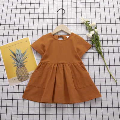 Baby/Toddler Girl's Solid Cotton Hemp Dress