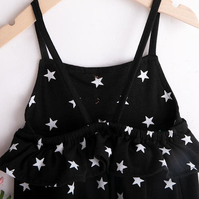 Toddler Girl's Star Patterned Strap Overalls