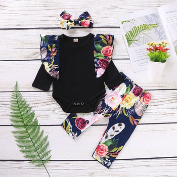 3-piece Baby Girl Floral Flutter-sleeve Bodysuit and Pants with Headband Set