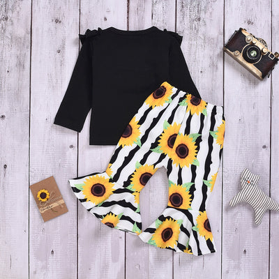 Baby / Toddler Solid Ruffled Top and Sunflower Striped Bellbottom Pants Set