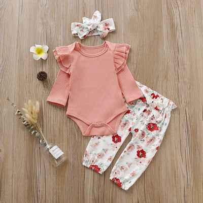 3-piece Baby Girl Solid Ruffled Bodysuit and Floral Allover Pants with Headband Set
