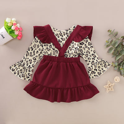2-piece Baby / Toddler Leopard Top and Suspender Skirt Set