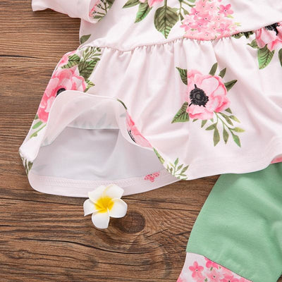 3-piece Baby / Toddler Lovely Floral Print Long-sleeve Top and Pants with Headband Set